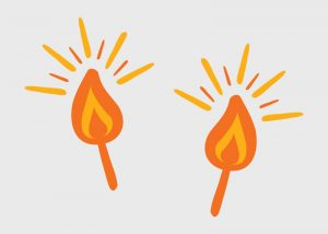 an illustration of two candle flame flickers